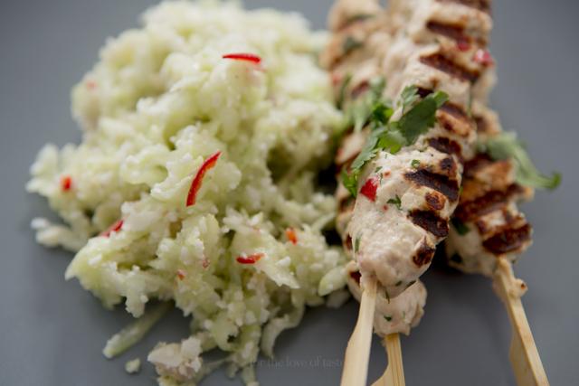 Coco Chicken satay with Cucumber salad - sugar free - lactose fr